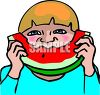 Child Eating Watermelon clipart
