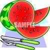 Whole Watermelon with Pieces Cut clipart
