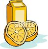 Carton of Orange Juice with a Halved Orange clipart