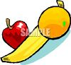 Apple, Banana and Orange clipart