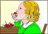 Little Girl Eating Cherries clipart