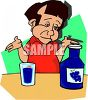 Cartoon Guy Drinking Grape Juice clipart