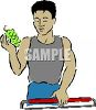 Man Buying Grapes at the Supermarket clipart