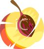 Juicy Peach Cut in Half clipart