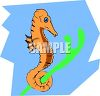 Seahorse Holding On To a Piece of Coral clipart