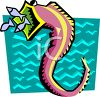Seahorse with Fish Coming From His Mouth clipart