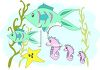Seahorse and Fish Swimming Through Seaweed clipart
