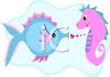 Seahorse in Love with a Pufferfish clipart