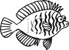Black and White-Cartoon Pouting Fish clipart