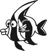 Black and White-Cartoon Angel Fish clipart