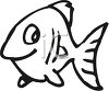 Black and White-Cute Cartoon Fish clipart