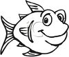 Black and White-Fat Cartoon Fish clipart