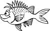 Black and White-Spiky Cartoon Fish clipart