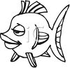 Black and White-Cartoon Girl Fish clipart