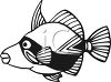 Black and White-Cartoon Bandit Fish clipart