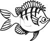 Black and White-Cartoon Fish with Stripes clipart