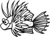 Black and White-Tropical Cartoon Fish clipart