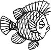 Black and White-Sleepy Cartoon Fish clipart