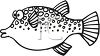 Fat Cartoon Fish-Black and White clipart