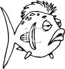 Black and White-Cartoon Fish with a Mohawk clipart