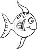 Black and White-Funny Cartoon Fish clipart