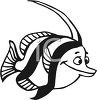 Black and White-Cartoon Fish clipart
