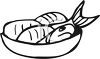 Black and White-Cartoon of Fish in a Pan clipart