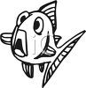 Black and White-Scared Cartoon Fish clipart