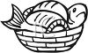 Black and White-Cartoon Fish in  a Basket clipart