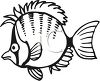 Black and White-Cartoon Punk Fish clipart