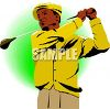 African American Vintage Golfer clipart