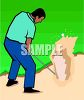 Golfer Trying to Get His Ball Out of a Sand Trap clipart