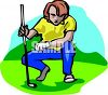 Golfer Checking His Shot clipart