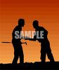 Golfers at Sunset clipart