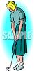 Vintage Sports-Woman Playing Golf clipart