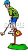 Boy Playing Miniature Golf clipart