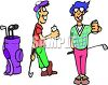 Cartoon of Golfing Buddies Having a Beer  clipart