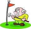Cartoon of an Old Man Playing Golf clipart
