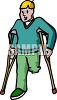 Amputee on Crutches clipart