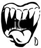 Black and White Cartoon Mouth with Scary Sharp Teeth clipart