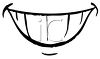 Black and White Smiling Cartoon Mouth  clipart