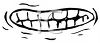 Black and White Cartoon Mouth with a Grimace clipart