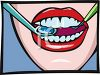 Woman's Mouth with Dental Pick and Mirror clipart