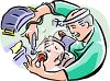Dentist Filling a Man's Cavity clipart