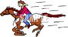 Mustang Horse Running Fast with Cowboy clipart