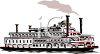 Riverboat with Smoke Stacks clipart