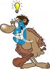 Cartoon of a Caveman with a Bright Idea clipart