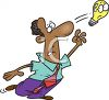 Cartoon of an African American Man with an Idea Getting Away from Him clipart