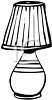 Black and White Table Lamp with a Pleated Shade clipart