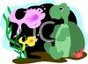 Cartoon of a Turtle and Two Fish clipart